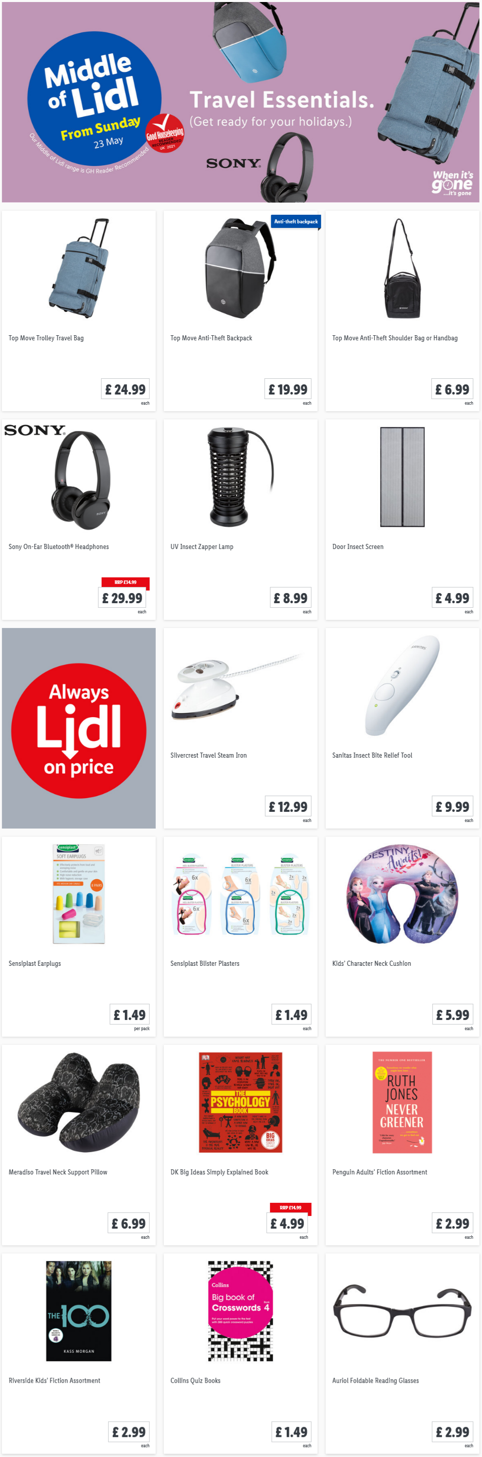 Travel Essential at Lidl From Sunday 23rd May 2021
