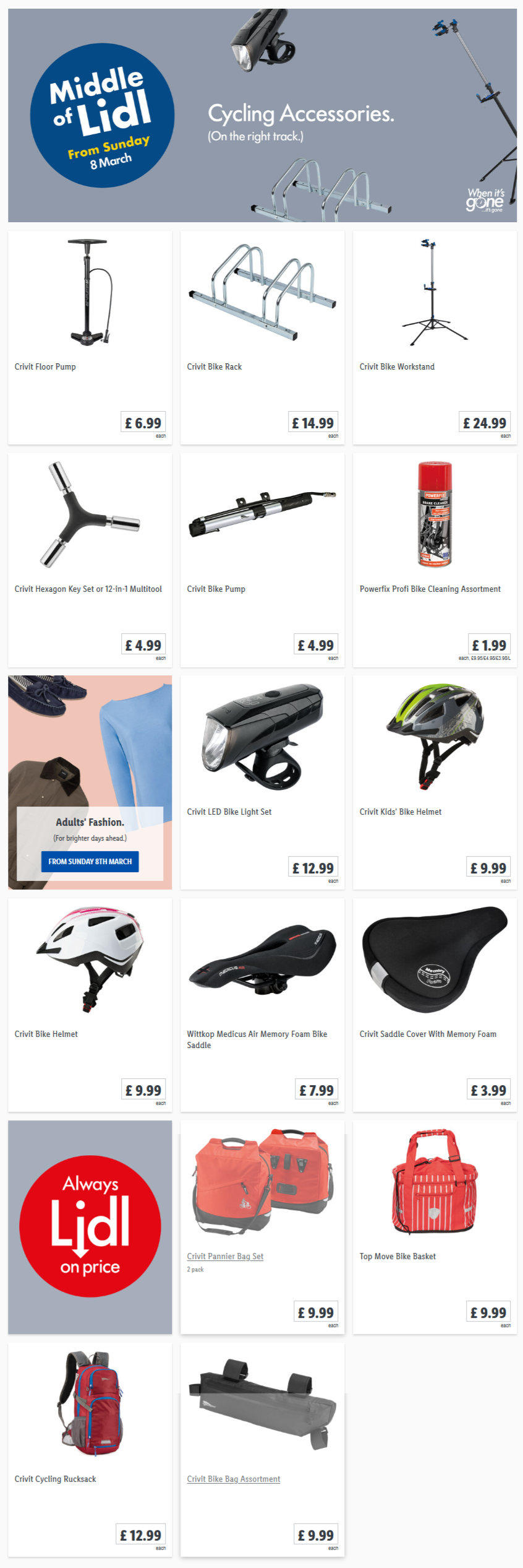 lidl cycling accessories from sunday. Black Bedroom Furniture Sets. Home Design Ideas