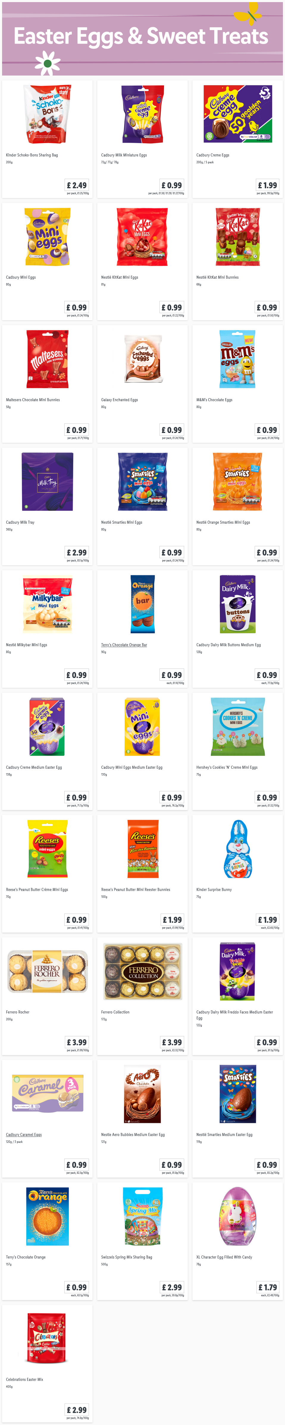 LIDL Easter Eggs Sweet Treats Offers From Thursday, 25th February 2021