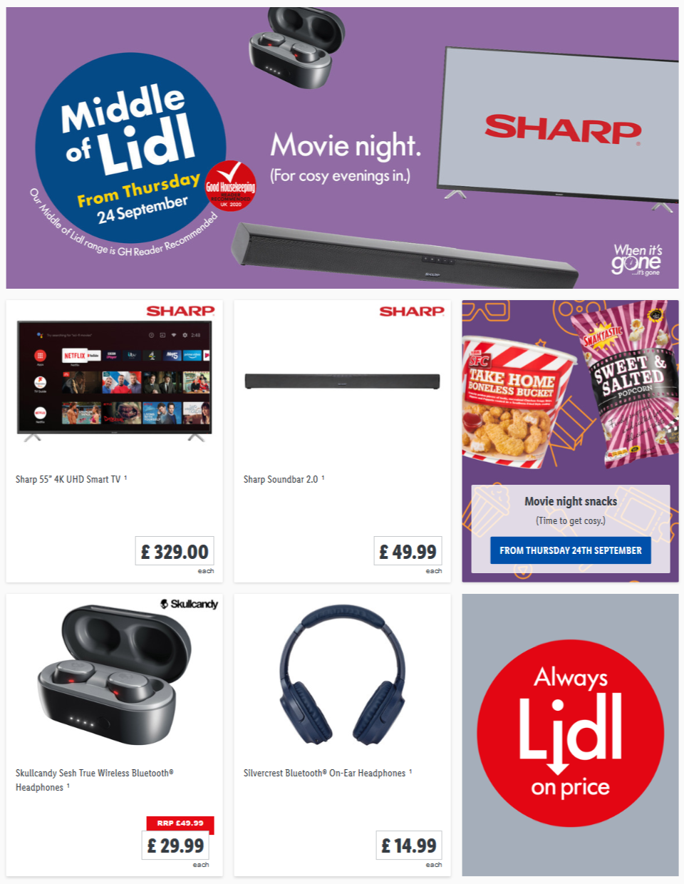 LIDL Movie Night Offers From Thursday 24th September 2020