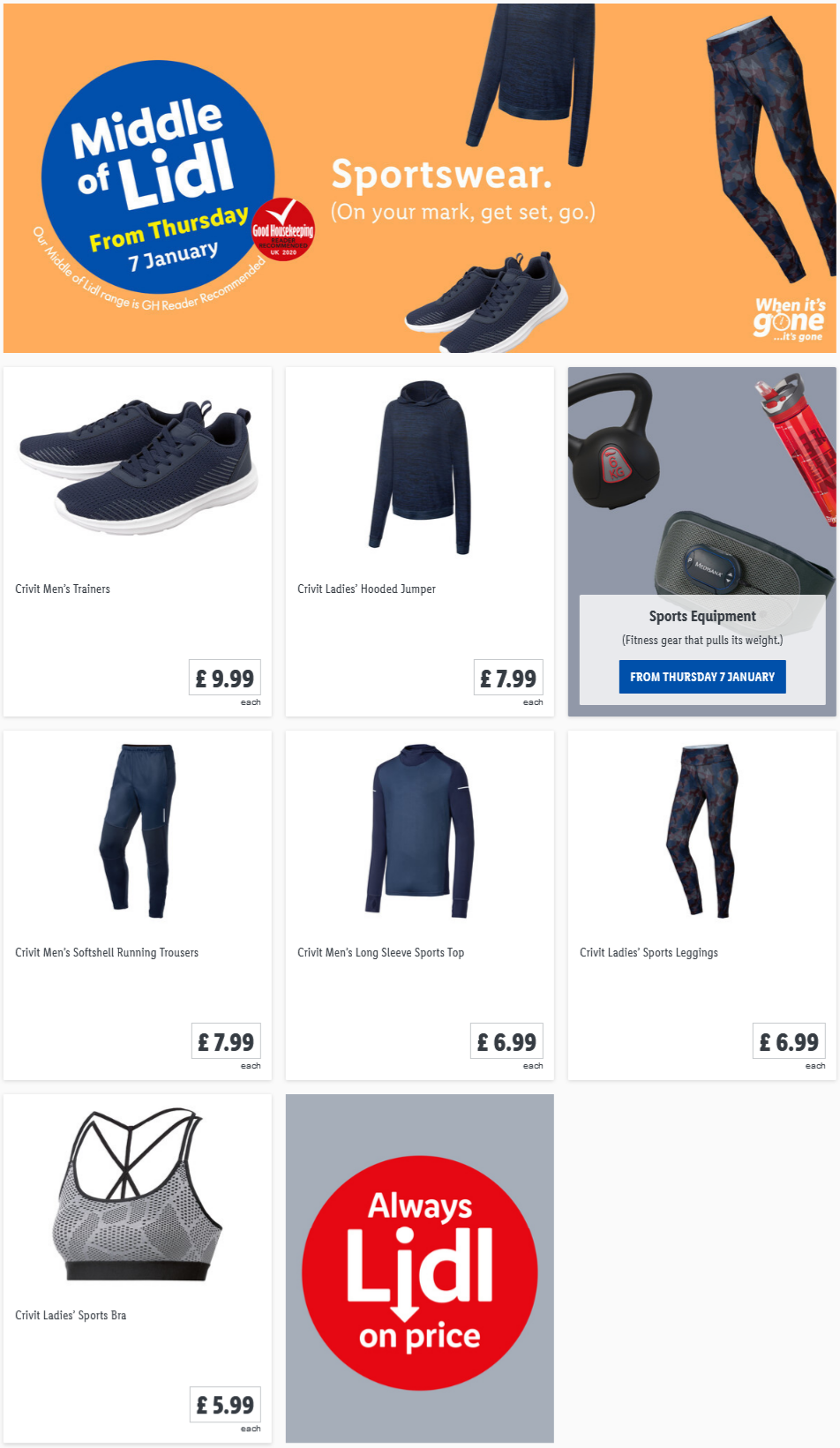 Buy Sportswear at LIDL Offers Start Thursday, 7th January 2021