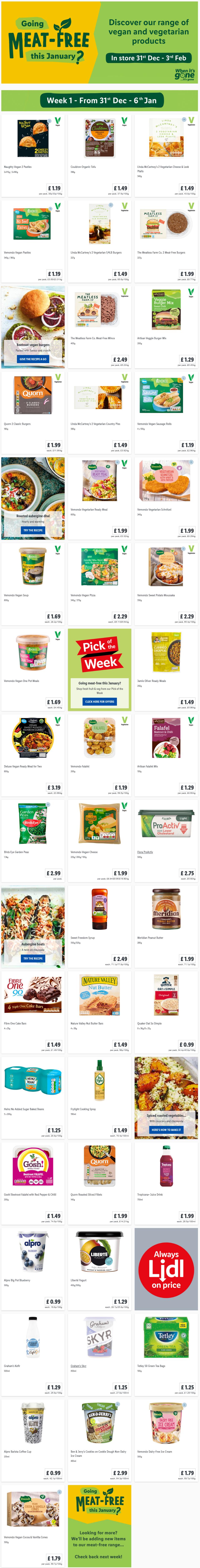 LIDL Veganuary Offers (Meat Free) From Thursday, 31st December 2020