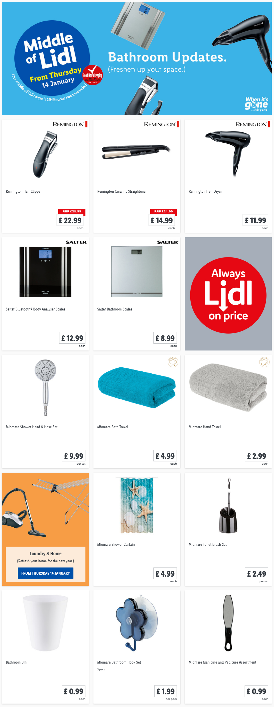 Lidl Bathroom Updates Offers From Thursday, 14th January 2021