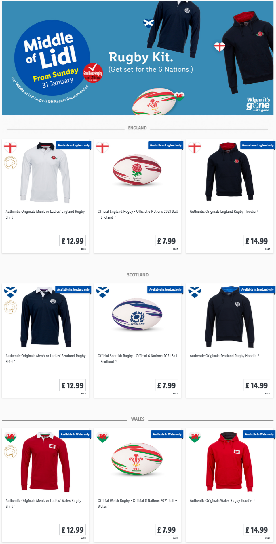 Shopping Rugby Kit at Lidl From Sunday, 31st January 2021