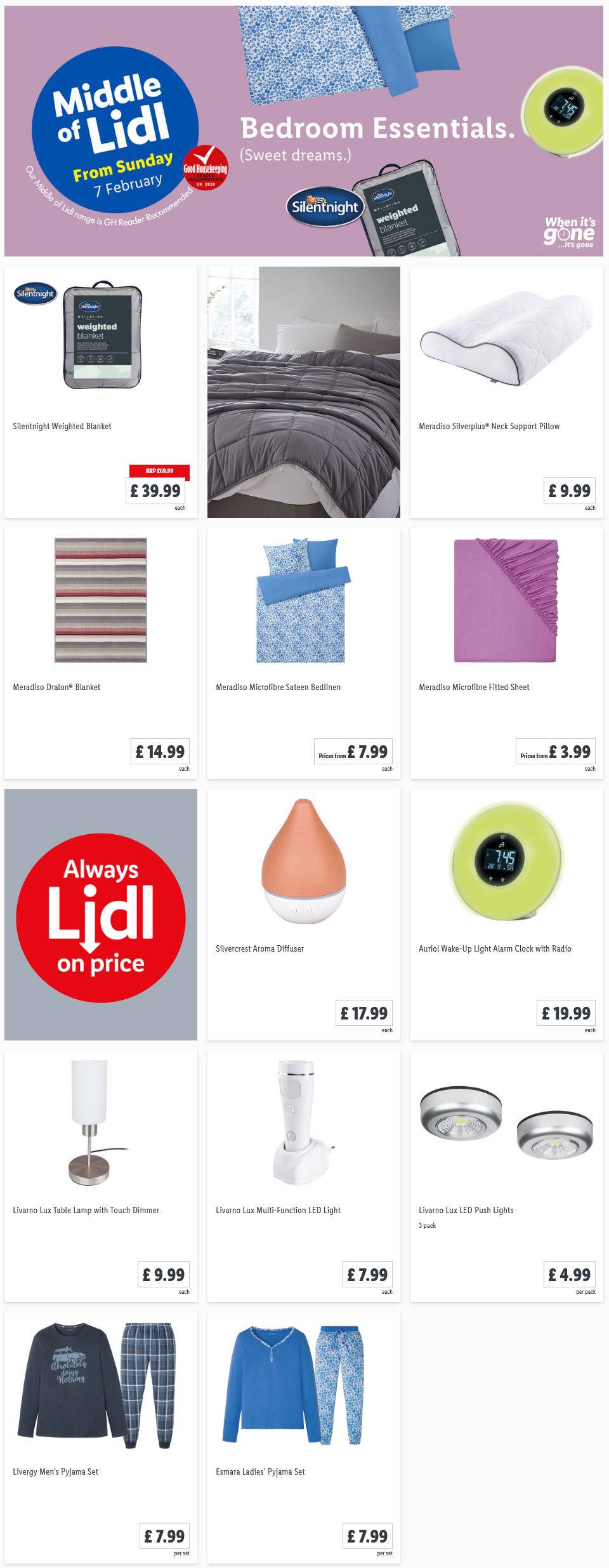 Shop Bedroom Essentials Offers at Lidl From Sunday, 7th February 2021