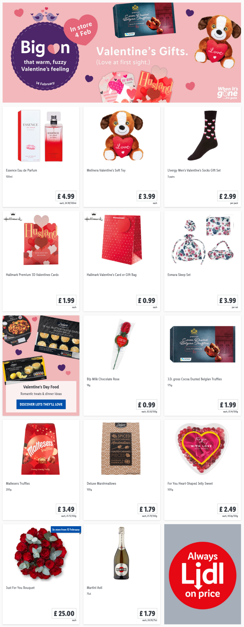 Lidl Valentine's Gifts Offers from Thursday, 4th February 2021