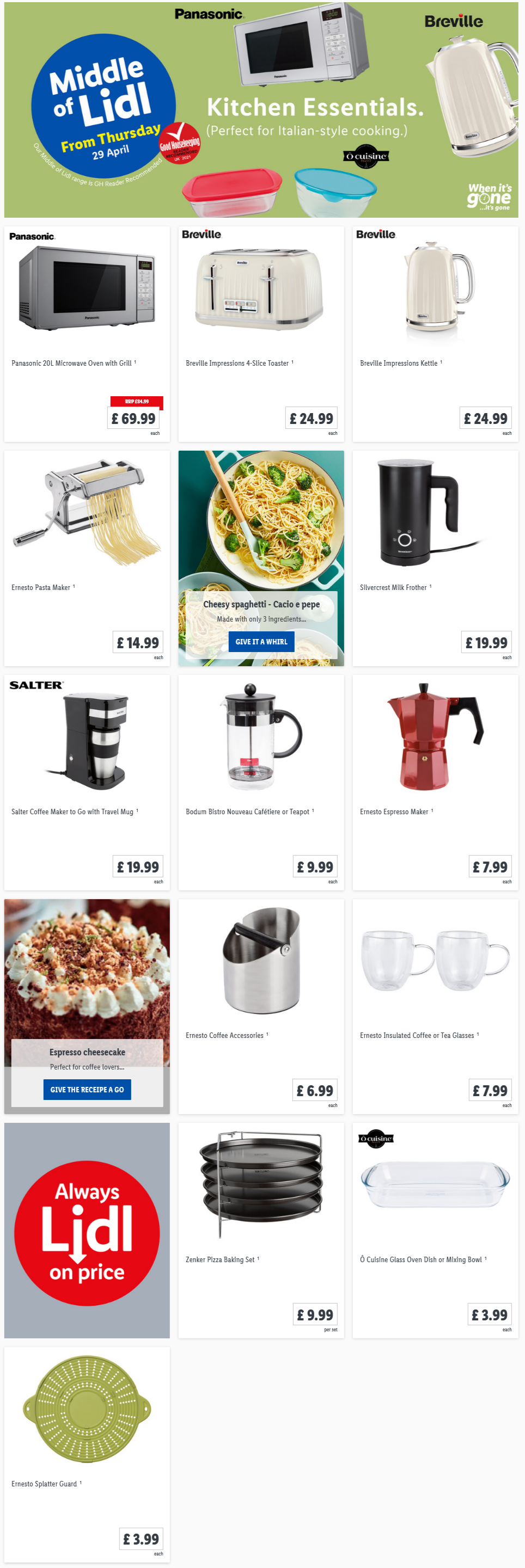 LIDL Kitchen Essentials Offers From Thursday, 29th April 2021