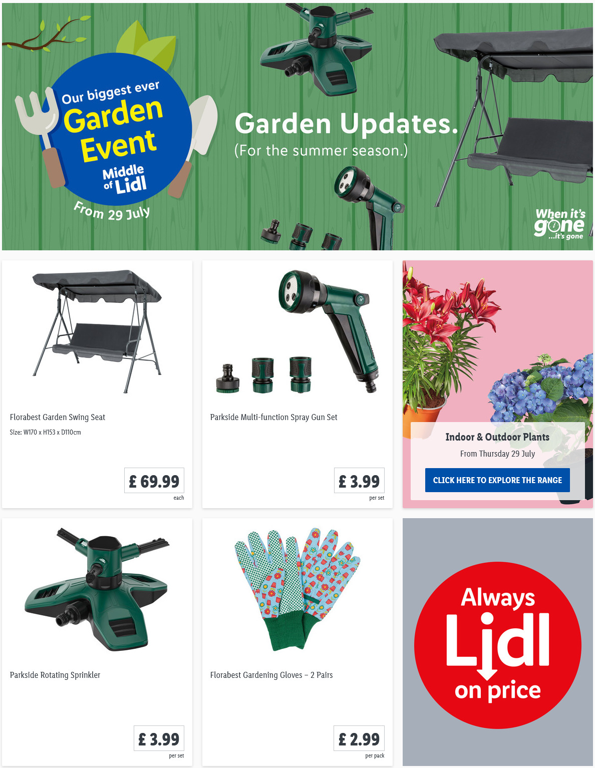 LIDL Garden Update Offers From Thursday, 29th July 2021